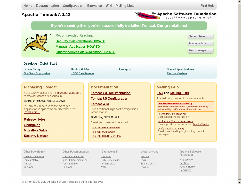 Apache Tomcat画面(CentOS)