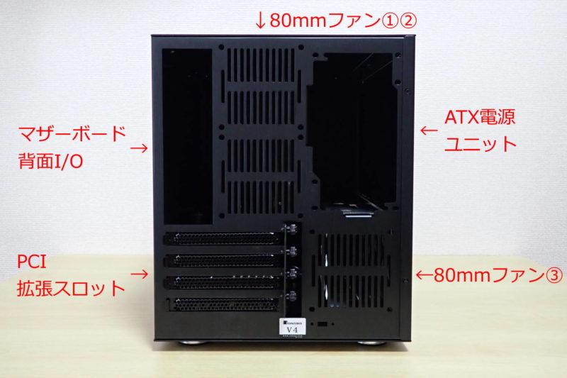 JONSBO V4 PCケースの背面