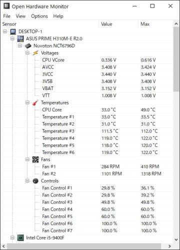 Open Hardware Monitorの画面
